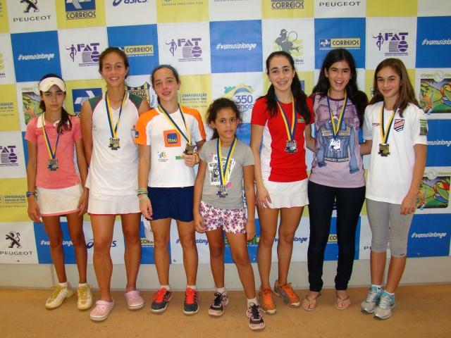 Campeãs e vice-campeãs de 12, 14 e 16 anos, além do Tennis 10's. Crédito: Rubens Lisboa/CBT